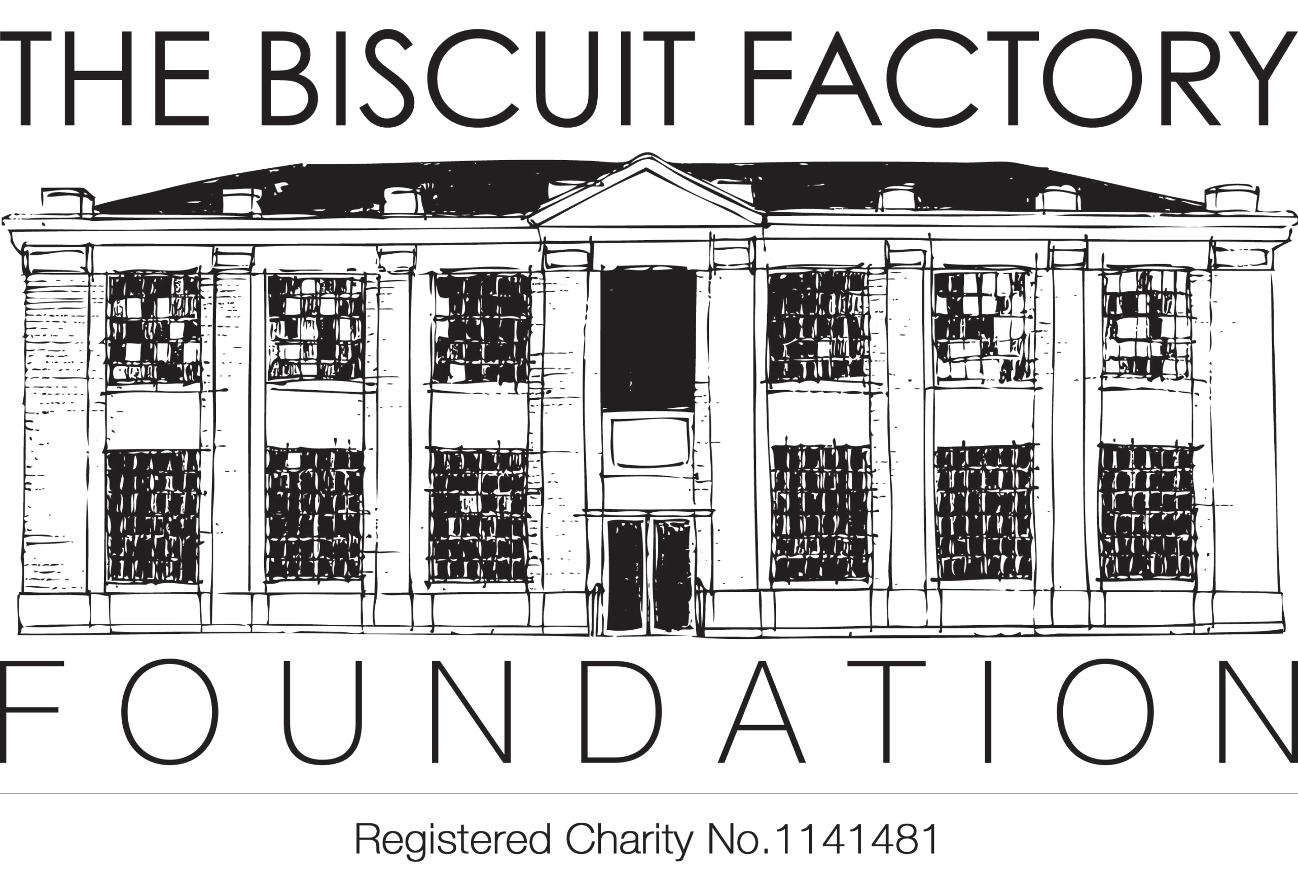 The Biscuit Factory Foundation Logo which features a drawing of the front of their gallery space.